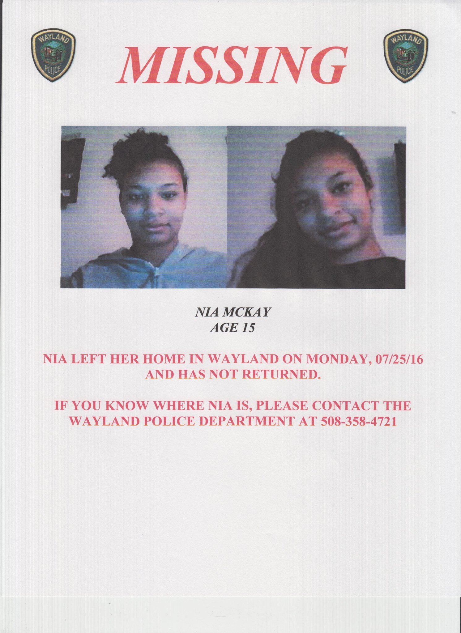 Missing 15 Year Old Girl Found: Was Missing Person Notice: 15 Year Old