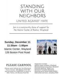 Standing with Our Neighbors, United Against Hate @ Islamic Center of Boston | Wayland | Massachusetts | United States