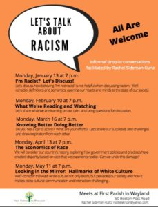 CANCELLED: Let's Talk about Racism @ First Parish in Wayland
