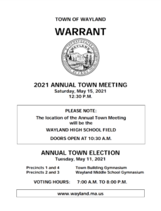 Annual Town Meeting @ Wayland High School (outdoors, on HS Turf Field)